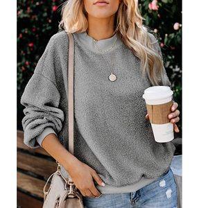 Grey Fuzzy Popcorn Sweatshirt